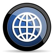 Earth blue circle glossy web icon on white background, round button for inter Stock Illustration
