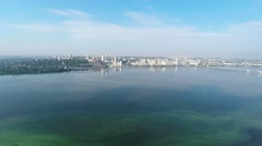 City panorama of the Dnieper river Stock Footage