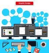 Workspace Graphic Design Monitor Tablet Keyboard Stock Illustration