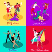 Set Street Folk Dance Jazz and Disco Stock Illustration