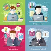Concept Work Employed Freelancer - stock illustration