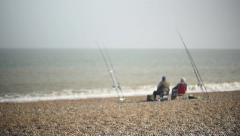 Beach fishing UK Suffolk coast Stock Footage
