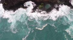 Kilauea lighthouse Kauai, Hawaii aerial overhead Stock Footage