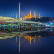 Ataturk bridge, metro bridge at night Istanbul Stock Photos