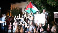 Pro Palestinian Arab Israelis protest with PLO flags against conflict escalation Stock Footage