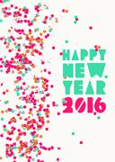 Stock Illustration of Happy new year 2016 confetti party holiday poster