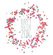 Happy new year 2016 confetti party simple template Piirros