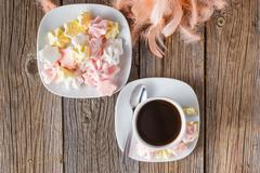 Homemade colorful meringue with decoration Stock Photos