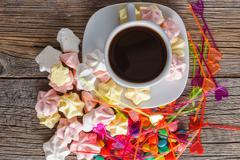 Homemade colorful meringue with decoration - stock photo
