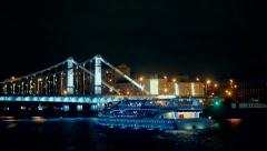Ship on Moscow-river at night Stock Footage