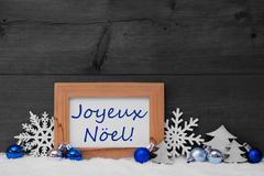 Blue Gray Decoration, Snow, Joyeux Noel Mean Merry Christmas - stock photo