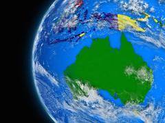 Australian continent on political globe Stock Illustration
