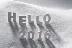 White Christmas Word Hello 2016 On Snow - stock photo