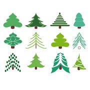 Collection of fir trees. Stock Illustration