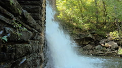 Overflow from Byrd Creek Dam at Cumberland Mountain Beautiful Waterfall - stock footage
