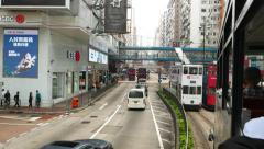 Move along Hennesy road, POV from double decker tram, daytime Stock Footage