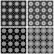 Collection of black and white classical vintage patterns, seamless black tile Stock Illustration