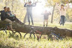 Family playing on fallen log with bicycles in woods Stock Photos