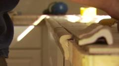 Mason attaching marble on kitchen worktop Stock Footage