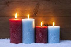 Christmas Card With Four Candles For Advent - stock photo