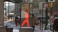 Digital walking sign on street Stock Footage
