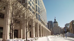 View of Indiana Statehouse during winter Stock Footage