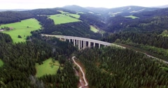 Autobahn Bridge Panoramic From Above.mp4 Stock Footage