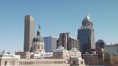 View of Indiana Statehouse and skyscrapers Stock Footage