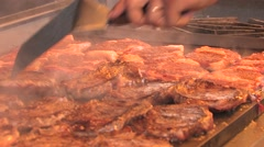 Meat cooked on gas stove Stock Footage