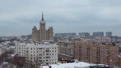 Moscow winter twilight roof top cityscape panorama 4k time lapse russia Stock Footage