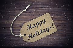 Vintage Brown Label With Text Happy Holidays Stock Photos