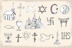 Set of trendy vector religion elements Stock Illustration