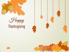 Happy Thanksgiving greeting card with oak leaves and acorn. - stock illustration