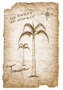Old treasure map with burned, edges on white background. Stock Illustration