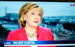 Hilary Clinton on national French television channel TF - stock photo