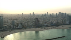 Aerial Tel Aviv central city beaches sunrise - stock footage