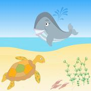 Sea creatures on a beach Stock Illustration