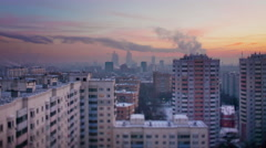 moscow city winter summer roof top panorama 4k time lapse russia - stock footage