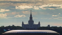 Moscow university luzhniki sadium roof top panorama 4k time lapse russia Stock Footage