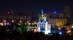 Night  illumination moscow city church roof top panorama 4k time lapse russia Stock Footage
