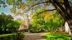 moscow summer day church park walk 4k time lapse russia - stock footage