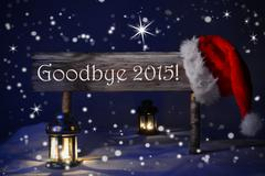 Christmas Sign Candlelight Santa Hat Goodbye 2015 Stock Photos