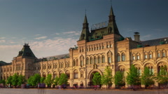 moscow gum department store sunset front red square 4k time lapse russia - stock footage