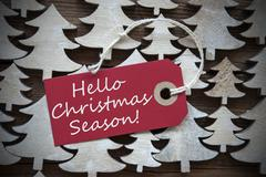 Red Label With Hello Christmas Season - stock photo