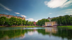 Summer day moscow patriarch ponds panorama 4k time lapse russia Stock Footage