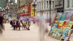 Moscow city summer day old arbat street gallery 4k time lapse russia Stock Footage