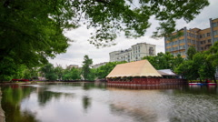 Summer day moscow famous patriarch ponds bay view 4k time lapse russia Stock Footage