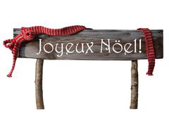Isolated Sign Joyeux Noel Mean Merry Christmas, Red Ribbon Stock Photos