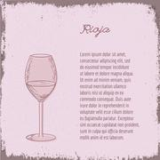 Vector template with hand drawn wine glass. - stock illustration