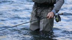 Closeup shot of fly fishing rod Stock Footage